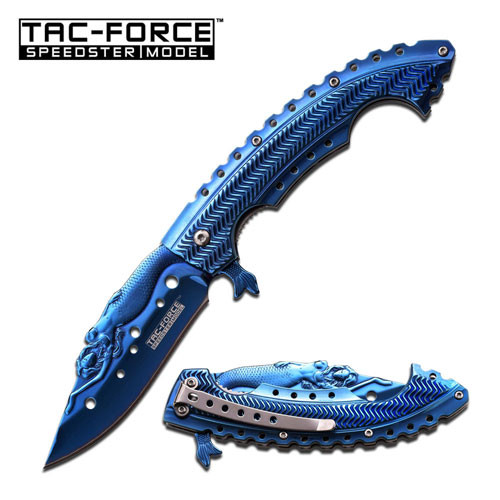 "Tac Force Speedster ""Mermaid"" Spring Assist Knife Blue"