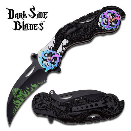 Dark Side Blades Chopper Spring Assisted Biker Knife