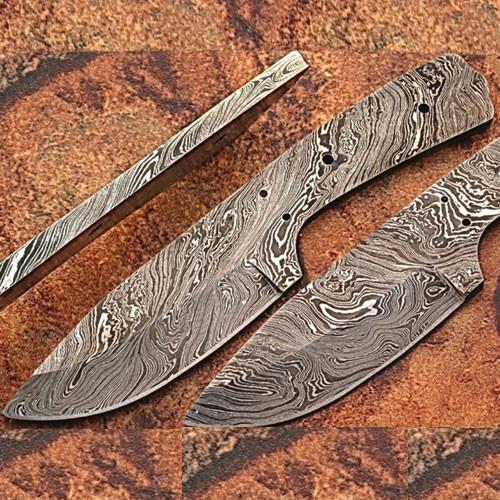 Custom FULL DAMASCUS Steel Militia-cut Knife (Blank Blade