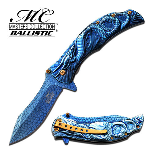 MTech Dragon Fury Assisted Opening Folding Pocket Knife Blue