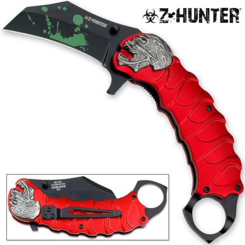 Z-HUNTER Zombie Tactical Karambit Red Knife