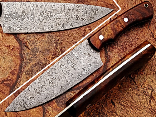 White Deer Damascus Cocco Bolo Wood Handle Chef Knife Kitchen Cutlery