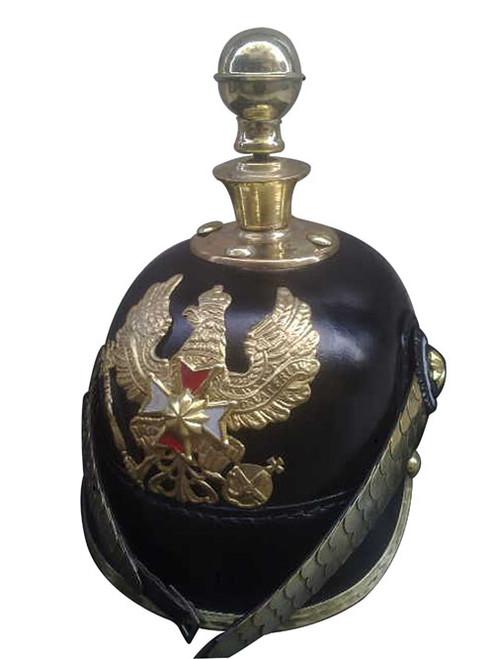 German Purssian Leather Helmet Round Spiked Bavarian Helmet