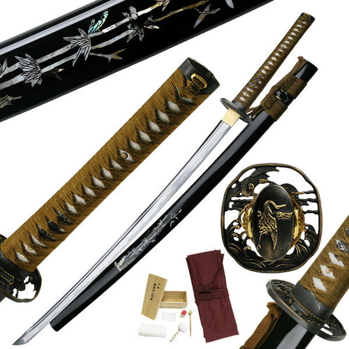 Ten Ryu Bamboo Phoenix Hand Forged Samurai Sword w Cleaning Kit