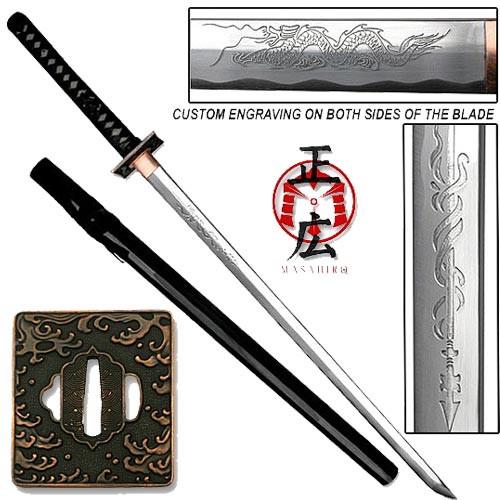 Masahiro - Engraved Tsunami Ninja-to Sword Razor Sharp