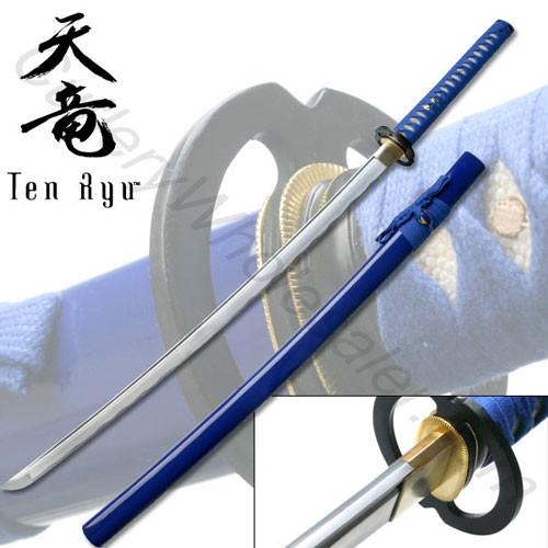 Hand Forged Carbon Steel Katana W/ Real Ray Skin - Blue