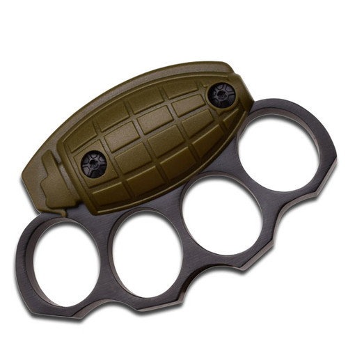 Frag Out! Metal Paper Weight Grenade Motif Knuckle Shape OD Green & Black