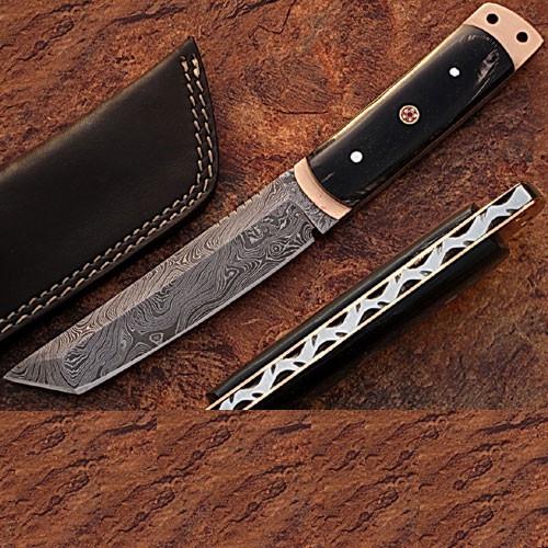 White Deer Damascus Steel Tanto Point Hunting Knife Buffalo Horn