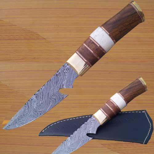 Troper Custom Made Damascus Skinner Knife
