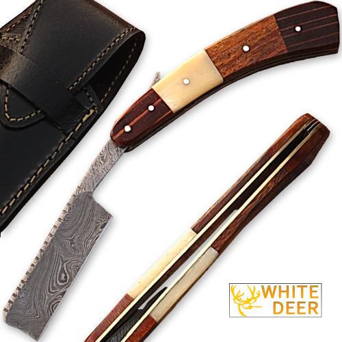 White Deer Damascus Steel Straight Razor w/ Camel Bone & Wood Handle