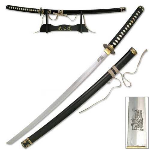 Kill Bill Bride's Sword Replica Movie Katana Lion Engraved Blade w Display Stand