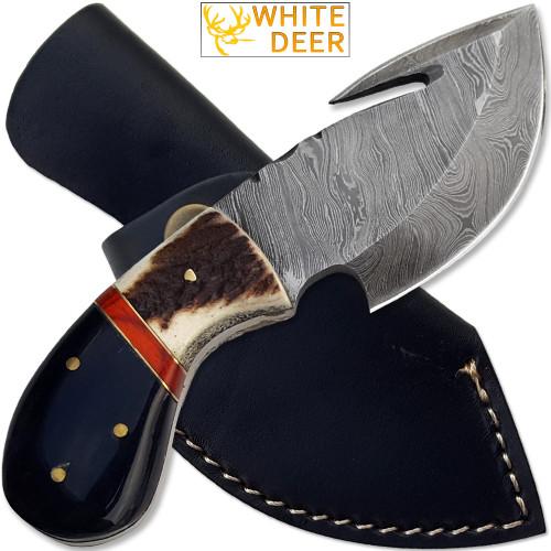 WHITE DEER Guthook Pattern Welded Damascus Steel Tracker Knife