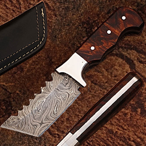 Tracker DAMASCUS STEEL W/ ROSE WOOD HANDLE Full tang
