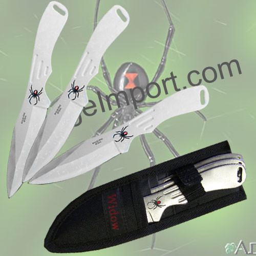 Spider Throwing Knives Set Silver