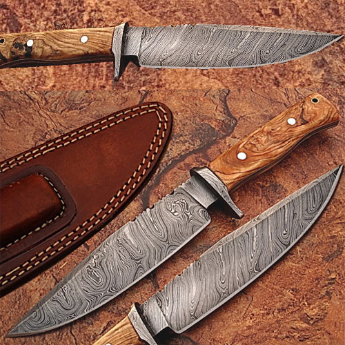 Custom Made Damascus Steel Traditional Hunting Knife w/OliveWood