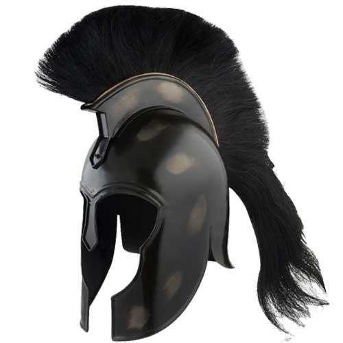 Achilles Trojan Helmet Replica Myrmidon Carbon Steel w Black Crest Plume