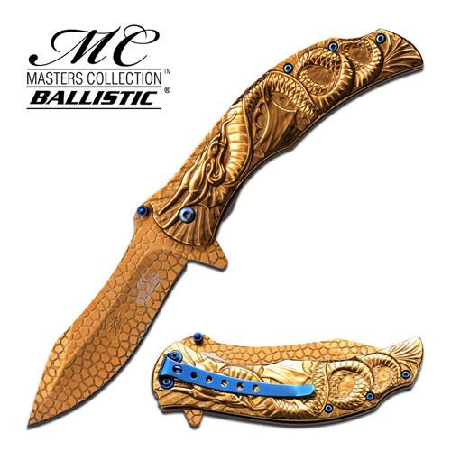 MTech Dragon Fury Assisted Opening Folding Pocket Knife Gold Tit