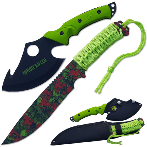 Ultimate Zombie Survival Knife Set Full Tang Sharp Edge Import
