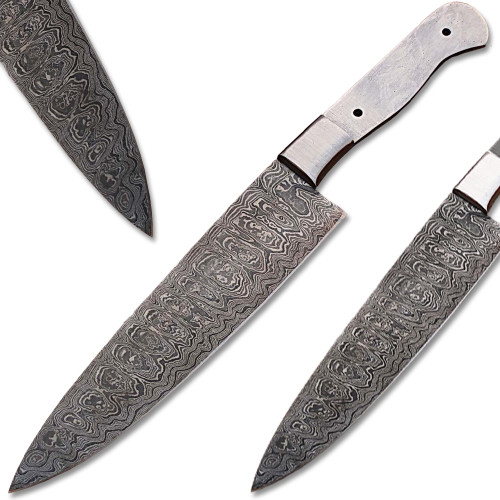 Custom Made Damascus Making Ladder Pattern Chef Knife blank