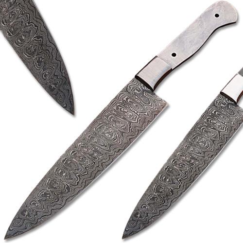 Custom Made Damascus Making Ladder Pattern Chef Knife blank