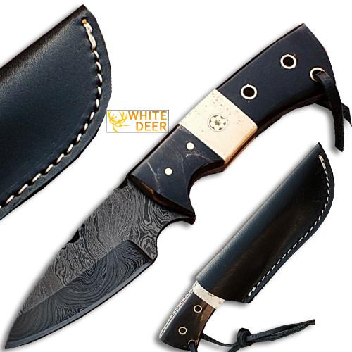 White Deer General Patton's Custom Damascus Knife