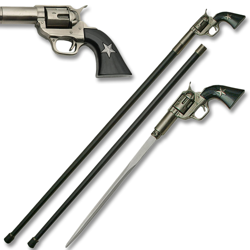 Sword Cane - American Revolver Pistol Handle