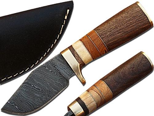 Custom Made Damascus Steel Hunting Knife w/ Walnut & Camel Bone