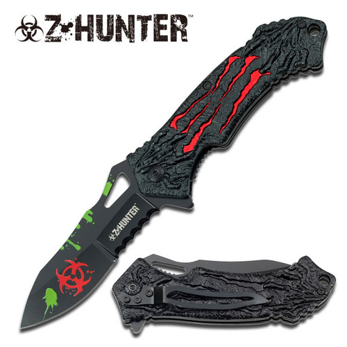 Red Zombie Hunter Assisted Opening Folder Knife