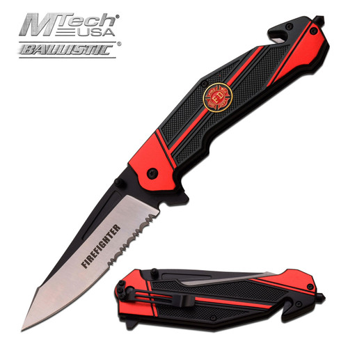 MTECH USA FIRE FIGHTER SPRING ASSISTED RESCUE KNIFE