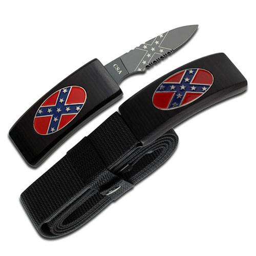 Dan Valois CSA Flag Belt Buckle With Hidden Knife