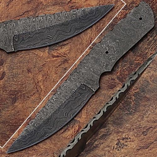 Blank Blade Damascus  Eye Bird Pattren Full Tang Skiner Knife 4