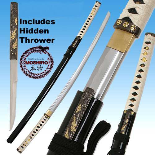 MOSHIRO - Zetsurin Sword w/ Knife Full Tang - Black Saya