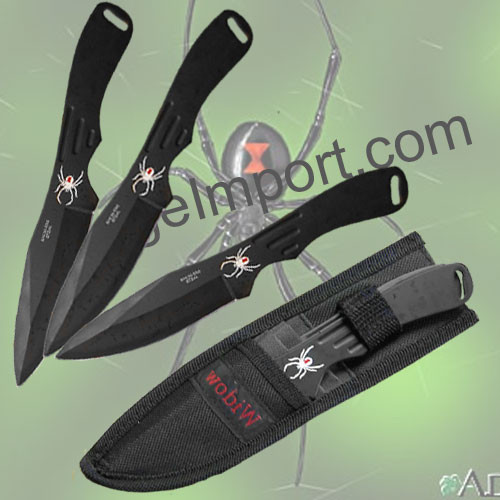 Spider Throwing Knives Set Black