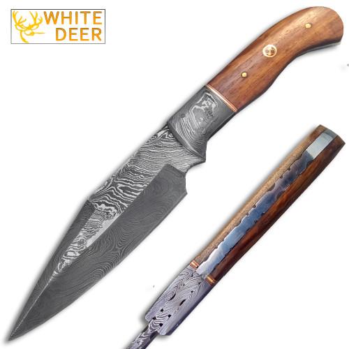 White Deer Custom Made Damascus Hunting Knife w/ Walnut-Wood Handle