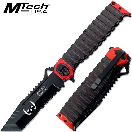 "MTECH USA Ballistic Tanto Knife Red 9.5"" Skull Spring Assist"