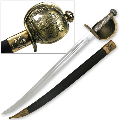Captain Blackbeard Pirate Sword & Scabbard