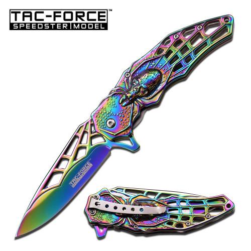 Tac-Force Speedster Spider Skull Spring Assisted Knife - Rainbow