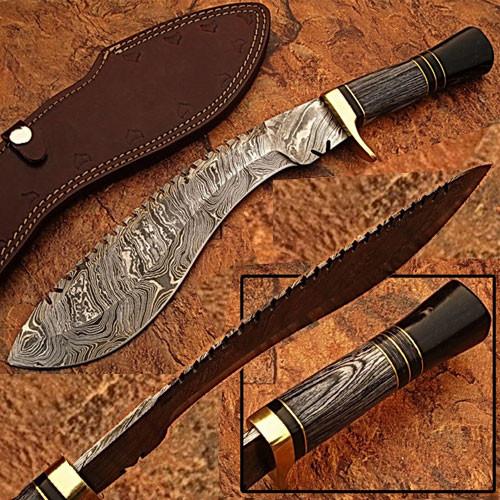 Custom Made Damascus Steel Kukri Knife w/ Wood & Buffalo Horn