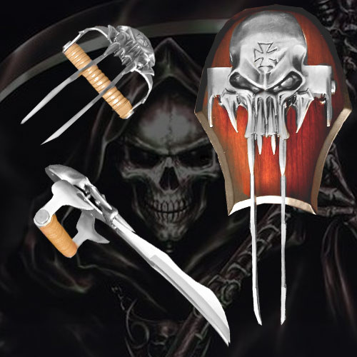 X-23 Dual Bladed Hand Claw Wolverine Laura Skull w Plaque