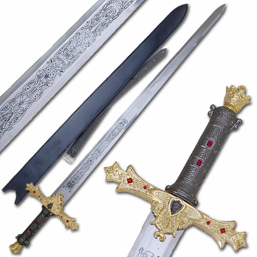 King Arthur's Excalibur Sword Gold Refined Medieval Display Replica