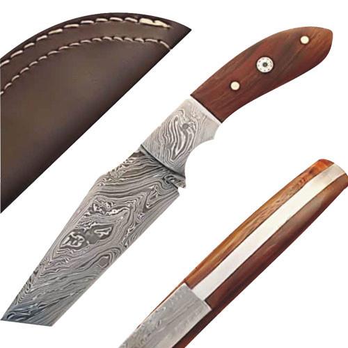 White Deer Damascus Steel Tanto Knife w/ Hardwood Handle
