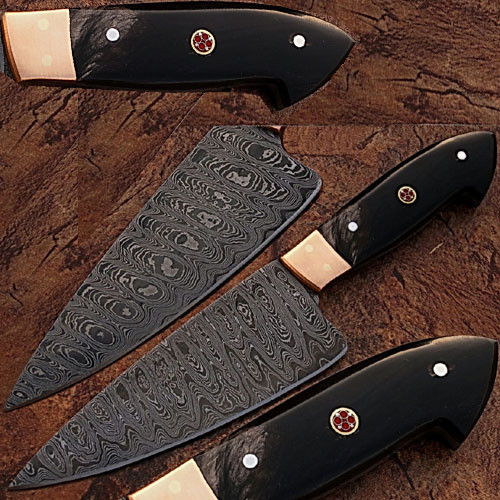 Custom Made Damascus Steel Chef Knife Buffalo Horn Handle Copper