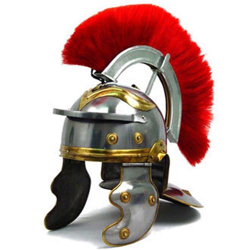 Roman Imperial Gallic Centurion Helmet Italic Red Plume 18ga Steel