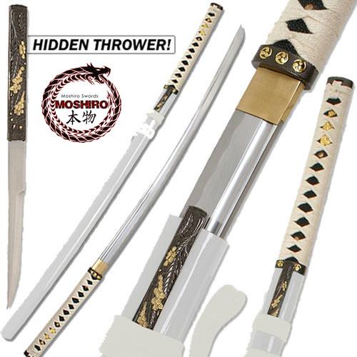 MOSHIRO- Zetsurin Sword w/ Knife Full Tang - White Saya