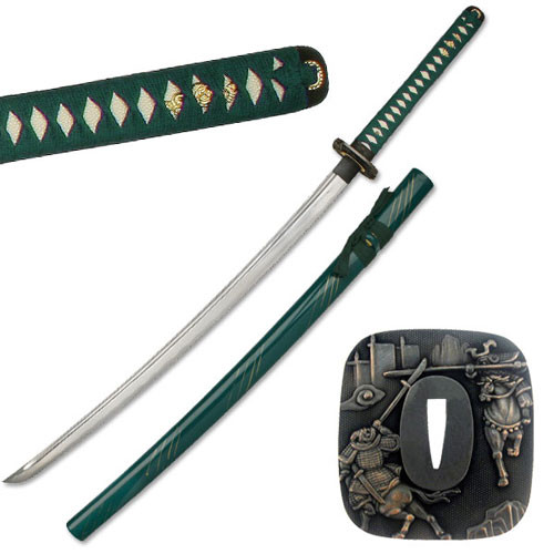 Hand Sharpened Carbon Steel Katana with Green Scabbard