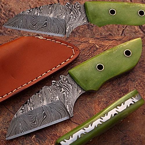 Custom Made Damascus Steel Skiner Knife Green Colored Camel Bone