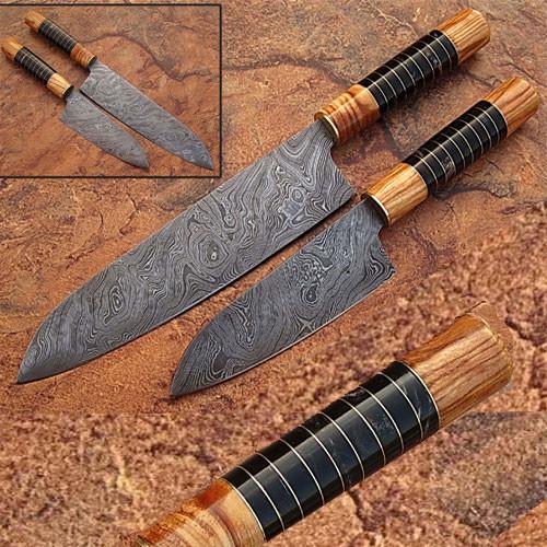2 PCS SET Damascus Steel Chef Knife Olive Wood & Buffalo Horn