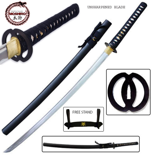 MOSHIRO High Carbon Steel Unsharpened Iaito Katana With Free Stand