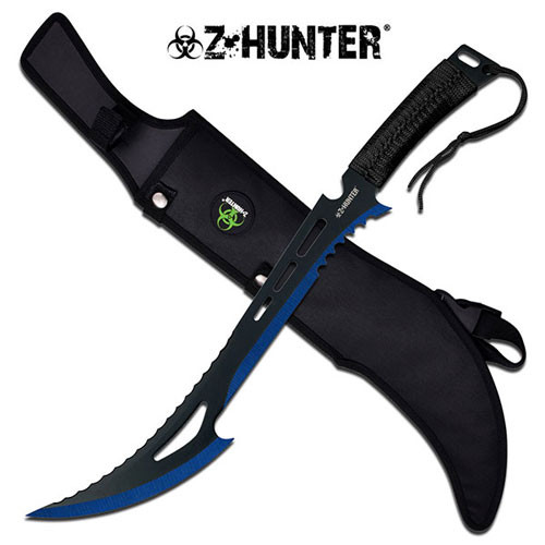 Blue Renegade Zombie Killer Machete With Sheath