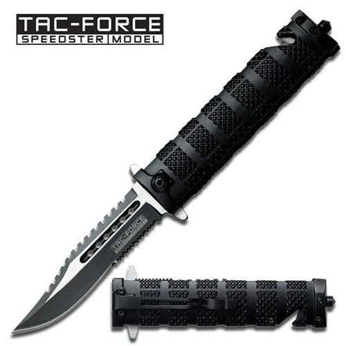 TAC FORCE Spring Assisted Open SAWBACK BOWIE Tactical Rescue Pocket Knife 710BK
